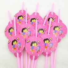 10pcs/bag Dora Party Supplies Drinking Straws Cartoon Birthday Party Decoration Baby Shower Theme Festival For Kids Girls Boys цена