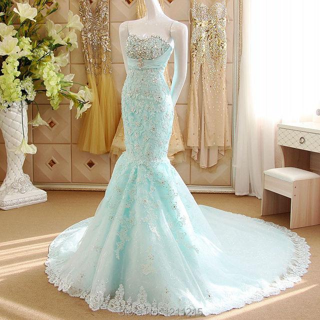 Mermaid Ice Blue Wedding Dresses 2016 Full Length Luxury Crystal Beaded Liques Vestidos De Noivas Para