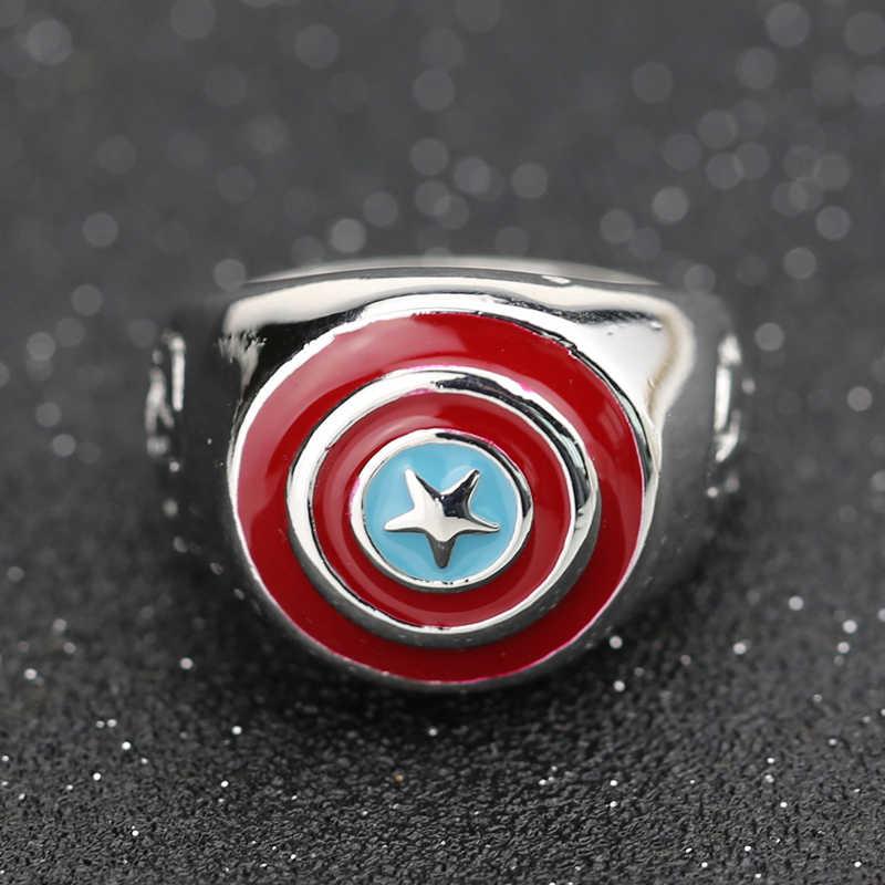 Capitão américa anel vingadores super-herói escudo steve rogers marvel esmalte moda quente filme jóias cosplay atacado
