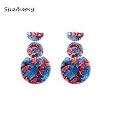 STRATHSPEY Geometric Acrylic Drop Dangle Earrings For Women Retro Resin Statement Earring Fashion Jewelry Accessories retro style striped ball and geometric acrylic drop earrings