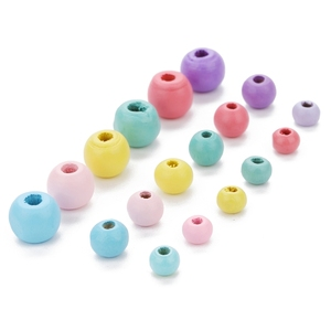 100pcs/lot Mixed Colors 6/8/10mm painted pink blue green yellow round loose wooden beads ball spacer bead DIY jewelry components(China)