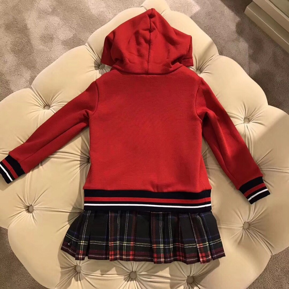 kid girls sweatshirt dress hooded red long sleeve Autumn Fashion soft pullover dress hoodie for Children outwear in end of Oct hooded pocket curved hem sweatshirt dress