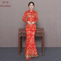 Sukienka panny młodej wieczorem syrenka Ogon 2018 długa konstrukcja rybi ogon suknia Singapur chiński styl czerwony ślub cheongsam kobiet