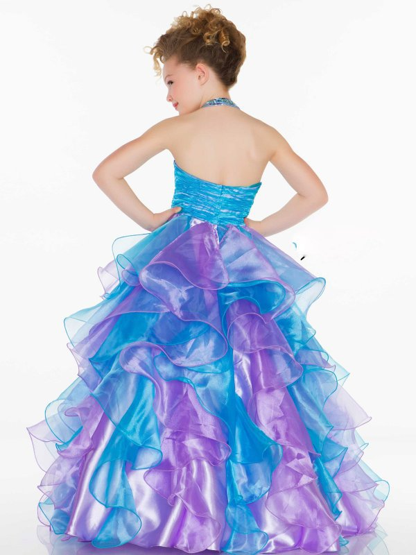 4a895006a70 2016 Beaded pageant gowns kids Floor Length Organza Ruffled Purple And Blue  Flower girl dress children for girls-in Flower Girl Dresses from Weddings  ...