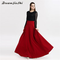 Dreamjieshi 2017 Autumn Winter High Waist Solid Color Long Skirts Elegant Fashion Pleated Maxi Skirt Women
