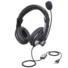 Business Headset Surround Sound Over Ear Headphones with Noise Cancelling Mic for Skype PC Computer Chat цена и фото