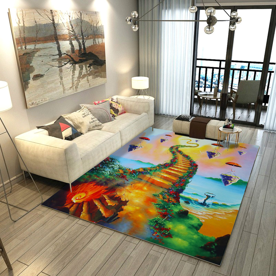 Creative 3D Printed Green Flower Hallway Carpets For Living Room Home Area Rug Kitchen Bathroom Antiskid Mats Coffee Table Rugs