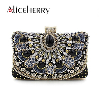 Aliceherry European designer handbags high quality diamond evening bags girls chain clutch makeup bag party wedding bridal purse