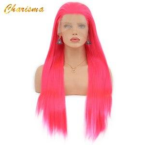 Image 2 - カリスマロングブロンドコスプレかつら絹のようなストレートの合成レースフロントウィッグ女性 10 色ピンク黒グレーで髪