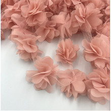 5yards/lot flowers 3D Chiffon Cluster Flowers Lace Dress Decoration Fabric Applique Trimming Sewing on Supplies DIY craft