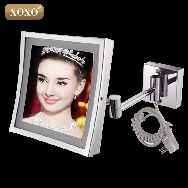 XOXO The hotel bathroom square wall hanging telescopic magnifying cosmetic mirror LED lamp with a single mirror 1119 цена 2017