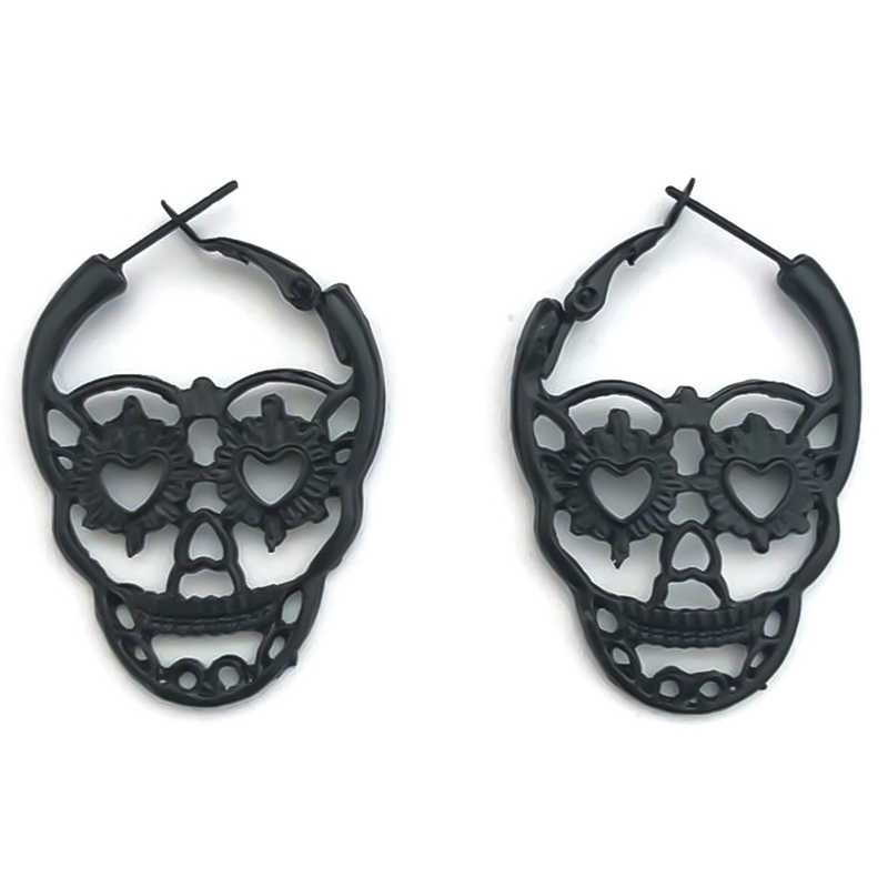 Vintage Earrings Carved Pattern Skull Drop Earrings Jewelry Retro Silver Color Hollow Out Earring Indian Accessories Gift