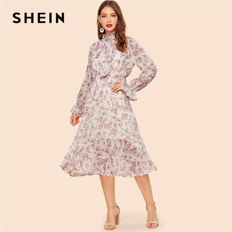 299203bbe0 SHEIN Vintage Bow Tie Neck Botanical Ruffle Women Midi Dress Spring Elegant  Shift Flounce Sleeve Stand