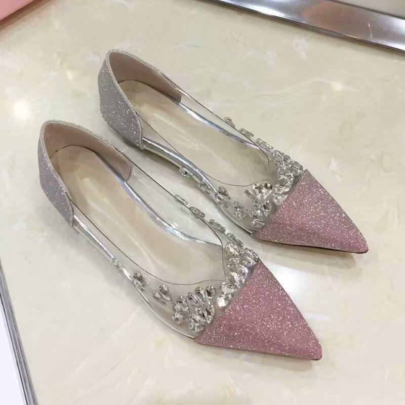 En Métal Profonde Cristal Chaussures Femme pink Plat Toe Rose Janes Gris Mince Paillettes Grey Mary Peu Glitter Pvc Point Talon Patchwork nOy0PwvmN8