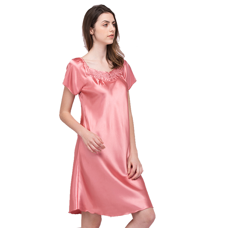 Hot Pink Fashion Summer Lace   Nightgowns     Sleepshirts   Rayon Lady Dressing Gown Female Home Bathrobe Sleep Lounge