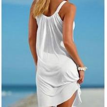 Summer Beach Dress Boho Strap Loose Sexy Vest Dress Women Sleeveless Sundress Plus Size