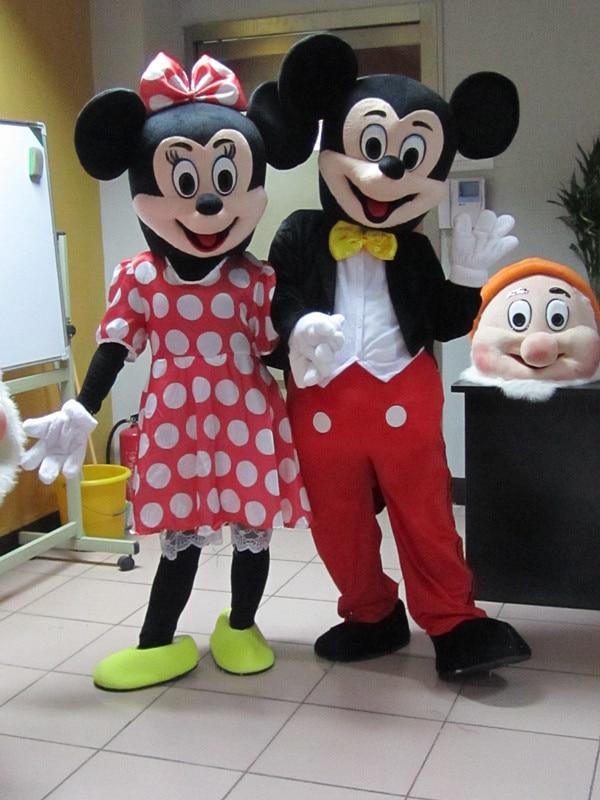 2 Pz/vendita Calda Minnie Mouse Mascotte Del Fumetto dimensione Costumi Adulti Costume per Halloween