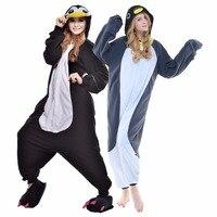 Newcosplay 2018 Karnaval Cosplay Kostüm Sevimli Pijama Cadılar Bayramı Onesies Pijama Kadın Karikatür Gri Penguen Unisex Pijama Set