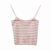 купить Tops Women Summer New Style Sexy Slim haut femme Fit Striped All-match Shoulder Tape Camisoles Tops по цене 301.24 рублей