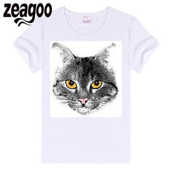 zeagoo Basic Casual Women Plain Crew Neck Slim Fit Soft Short Sleeve T-Shirt White very cute cat like it