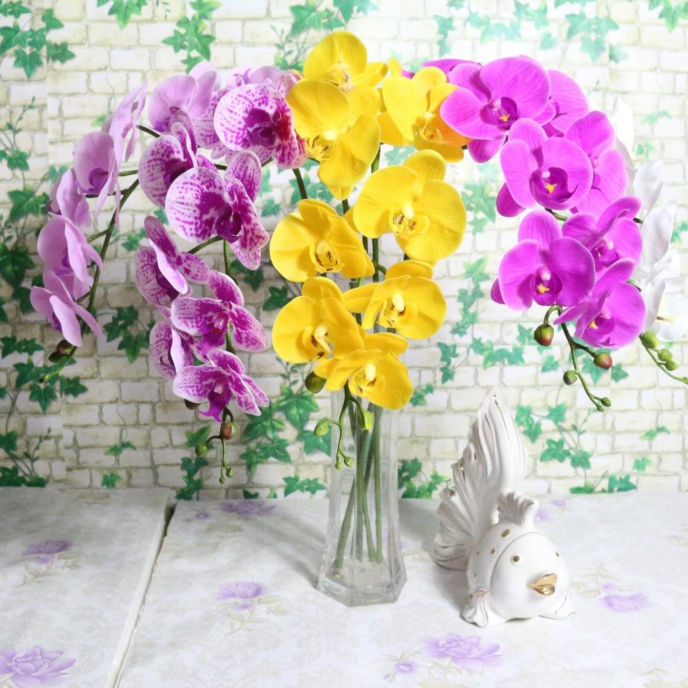 9 голов 95 см искусственный цветок фаленопсис латексный силикон реальное касание большая Орхидея свадьбы, высокое качество, один шт