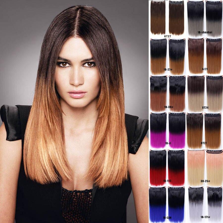 MUMUPI Fashion Women 24 inches Ombre Color Clip In Hair ...