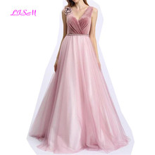 Pink V Neck Prom Dresses 2019 Sweet Flowers Beadings Girls Party Gowns Elegant A Line Straps Lace up Back Tulle Bridesmaid Dress