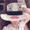 Moda exagerada lindo ojos grandes labios rojos tejer sombrero de paja playa de las mujeres de viaje Esencial femenino Visera gran sombrero de ala ancha sombreros para el sol tapas