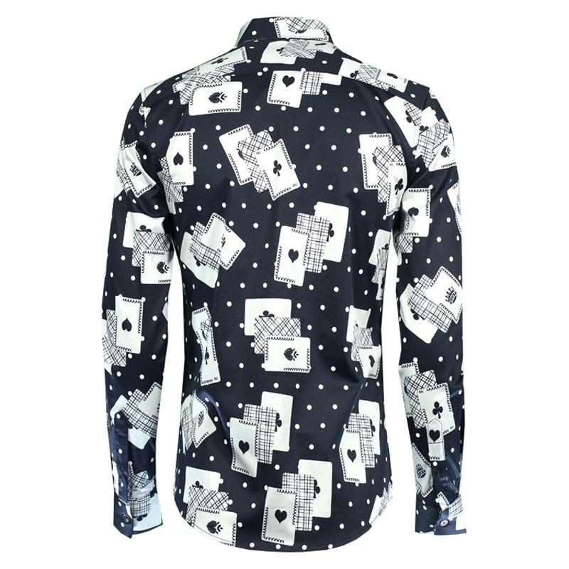Hommes Manches Automne Photo De Complète 2018 Plus Imprimer Chemises Chemise Mode La Robe Coton Mâle 4xl M Camisas Slim Taille Poker Affaires 100 qwBEvIFxn