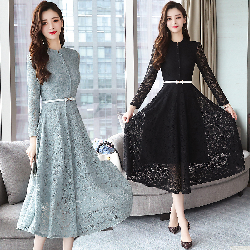 2019 Summer Large Size Retro Lace Midi Dress Women's Elegant Tight Black Long Dress Club Party Long Sleeve Runway Vestidos