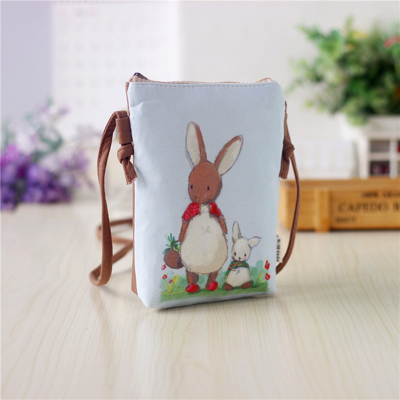 canvas cartoon printing children school bags kids travel messenger crossbody bag women small phone pouches money bags for girls cute cartoon women bag flower animals printing oxford storage bags kawaii lunch bag for girls food bag school lunch box z0