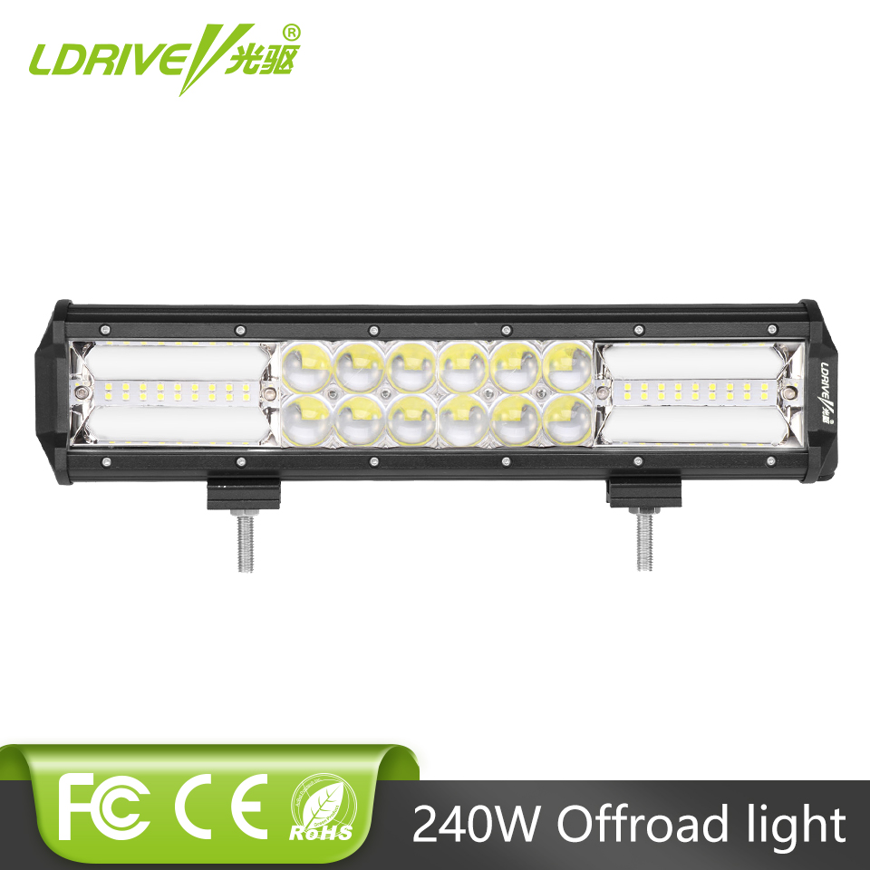 LDRIVE 240 W Combo barre de LED 12 V 24 V Offroad 4x4 4WD SUV camion tracteur LED travail barre lumineuse 13.5