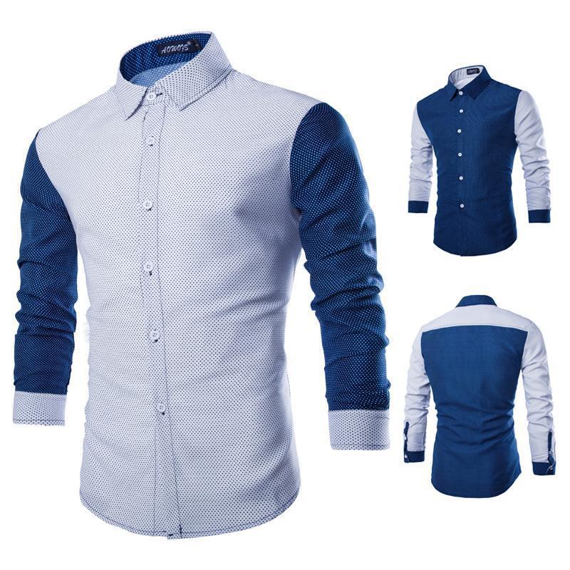 0e76703dcaa Four Seasons Slim Fit Mens Long Sleeve Dress Shirts Famous Brand Mens Polka  Dot Shirt Long