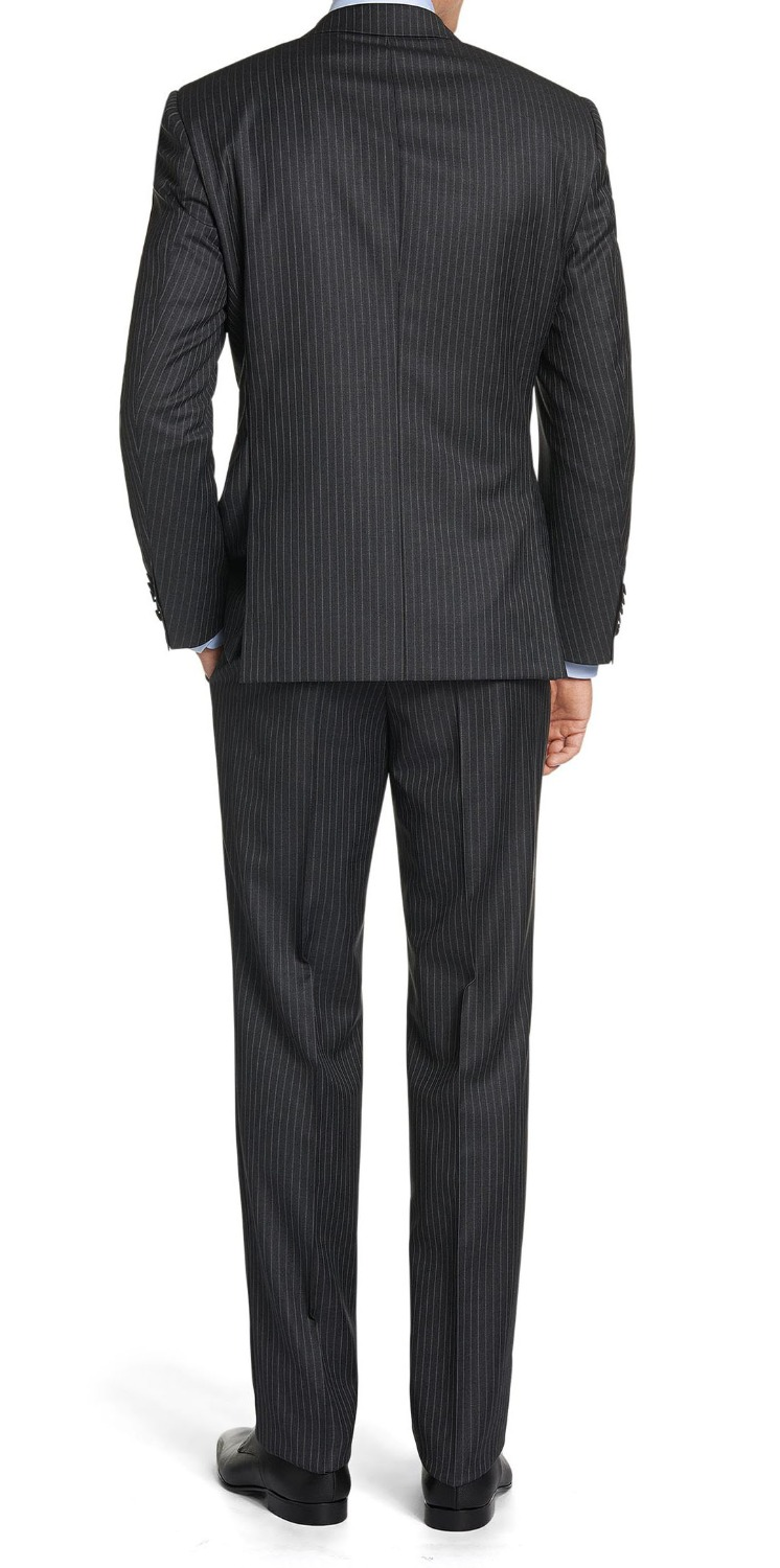 Black Mens Pinstripe Suit Custom Made Best Mens Wedding Tuxedos ...