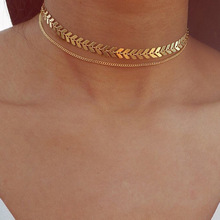 BK New Multi Arrow Choker Necklace Women Two Layers Necklaces Gold Color Fishbone Plane Charm Chocker Jewelry