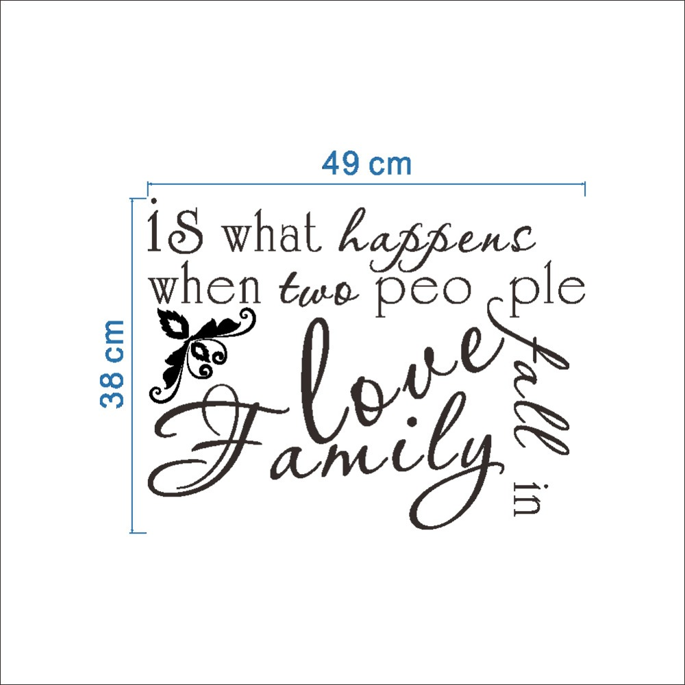 Family Is What Happens When Two People Fall In Love Wall Stickers Black Monogram English Words Inspiration Wall Decals Wall Art In Wall Stickers From Home
