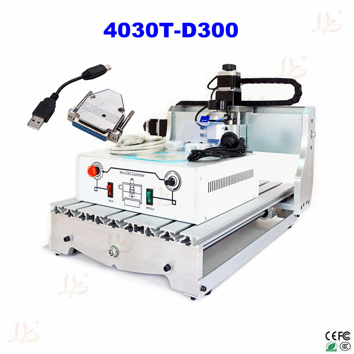 Russia free tax Mini CNC Router 4030T-D300 wood lathe Machine For PCB & Wood & Soft Metal Working with USB parallel port adapter mini cnc router machine 2030 cnc milling machine with 4axis for pcb wood parallel port