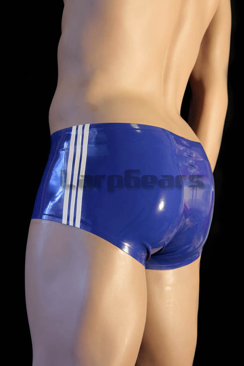 Blue Latex Rubber Boxer Shorts Underpants with 3 White Strips Custom Made