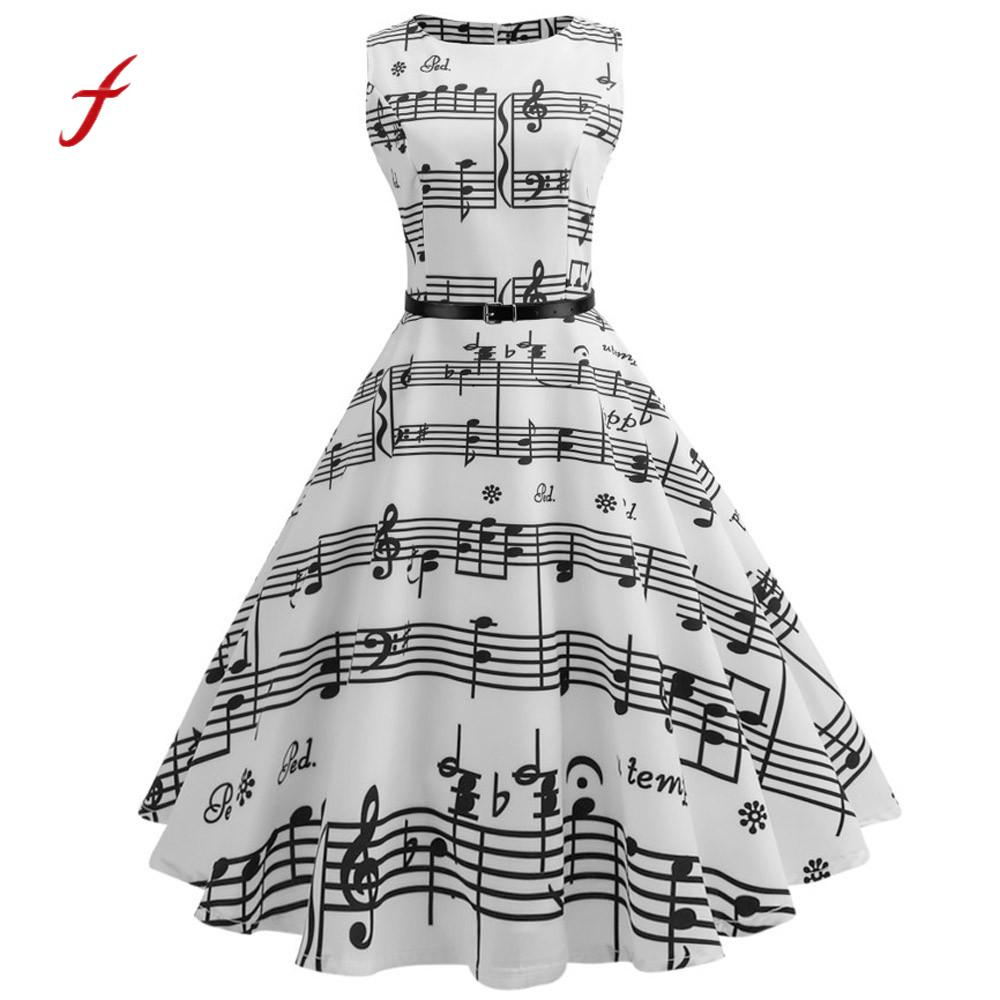 Women Formal dress Vintage Printing vestidos mujer Bodycon Sleeveless Dress Casual Evening Party Prom Swing 2018