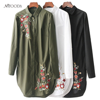 NATOODA 2018 Women Flower Embroidery Blouses Side Split Long Sleeve Casual Loose Black Shirts Elegant Office