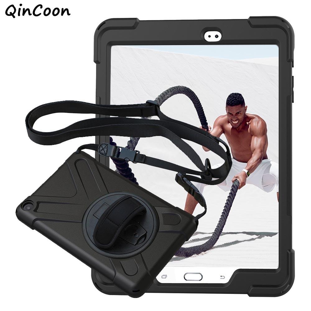 Пиратский чехол для samsung Galaxy Tab S2 9,7 T810 T815 PC + Силиконовые Подставка Tablet чехол w/наручные + плечевой ремень принципиально Coque
