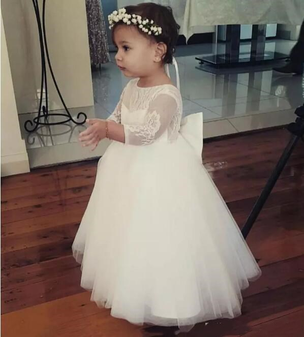 2018 New Flower Girl Dresses Bateau Neck Backless Girls Pageant Dress Floor Length Long Sleeves Pageant Gowns For Teens green crew neck roll half sleeves mini dress