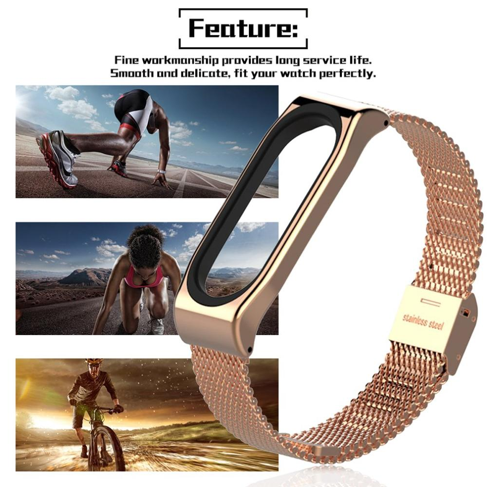 Stainless Steel Mesh Bracelet Watch Band Magnetic Wrist Strap Smart Band Replacement For Xiaomi Mi band 3 Watch in Smart Accessories from Consumer Electronics