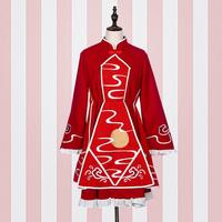 Japanese Lolita Dress 2017 Fashion Brand Stand Collar Embroidery Dress Female Was Thin Moon Pattern Beautiful