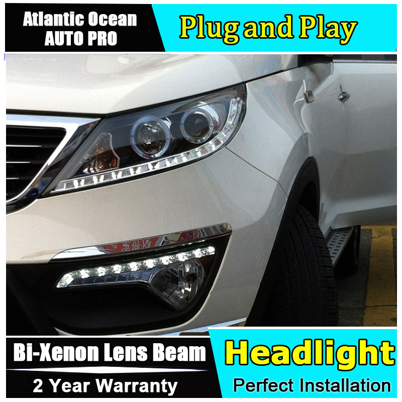 Car Styling LED Head Lamp for Kia Sorento Headlights 2011 Sorento LED Headlight angel eye headlight BI XENON front accesspories