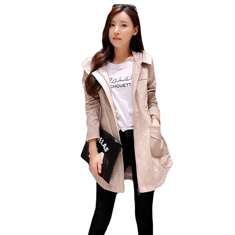 Autumn And Winter Windbreaker For Women Trench Coat Hooded Cotton Long Casual Female Spring Coat Khaki