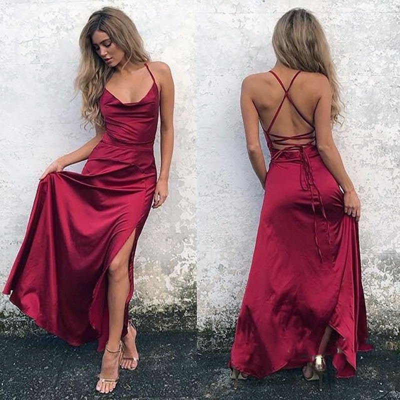 2018 African Sexy Halter Backless A-line   Bridesmaid     Dresses   Spaghetti Straps Burgundy Long Party Gowns Prom   Dress   Custom Made
