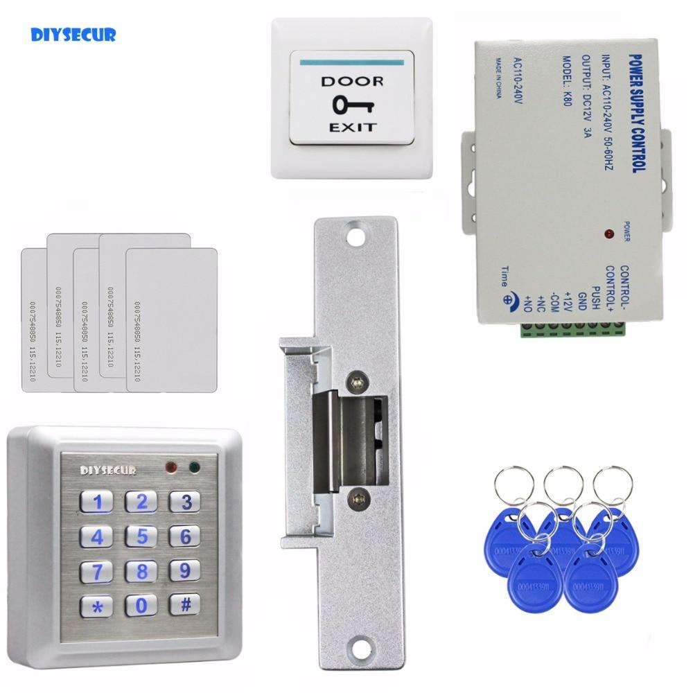 DIYSECUR Waterproof RFID Reader Access Control Full Kit Set Electric Strike Door Lock Power Supply Brand