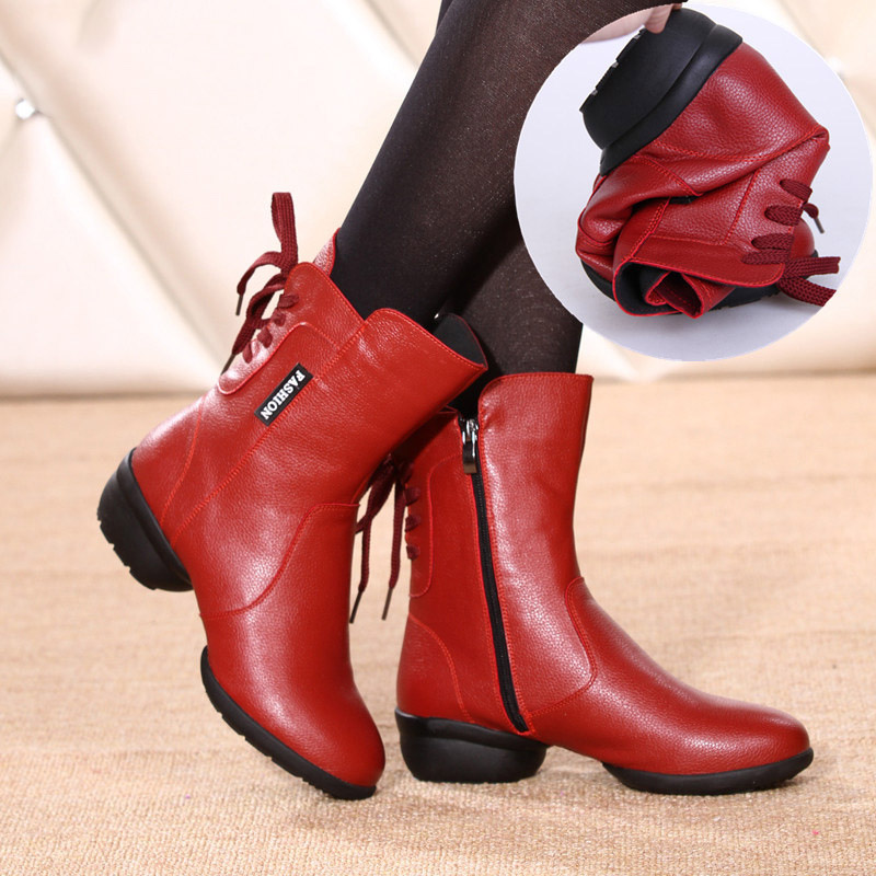 Square Lady Dance Shoes Sneaker Leather Boots Sports Boot Women Shoes Show Sailor zapatos de mujer Leather Boot Shoes For Women