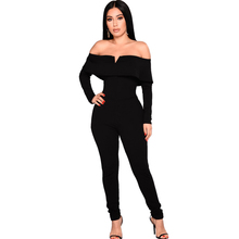 spring women's sexy jumpsuit solid color word shoulder small V-neck jumpsuit tight black jumpsuit